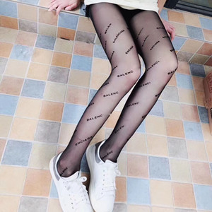 Women Black letters embroidery Pantyhose 2018 fashion style sexy thin silk stockings pantyhose summer womens net stocking tights new