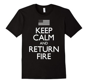 Wholesale Keep Calm Return Fire nd Amendment Mans Unique Cotton Short Sleeves O Neck T Shirt
