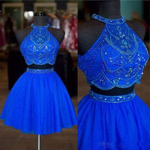 2019 Real Photos Royal Blue Two Pieces Homecoming Dresses with Halter Neck Beaded Backless Tulle A Line Cocktail Party Gowns
