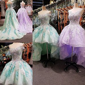 2019 Short Front Long Back Evening Dresses Lace Up Back Appliques Lace Green And Purple Prom Party Dress Real Photos Girl Pageant Dresses on Sale