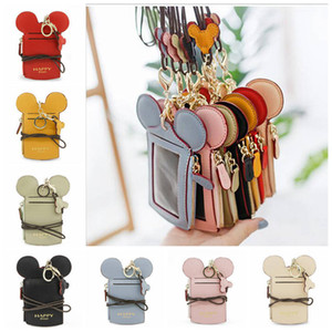 ID Badge Holder With Lanyard School Office Lanyard Neck Strap Card Holder Cartoon Ear Letter Name Credit Card Purse High Quality Bag YL556