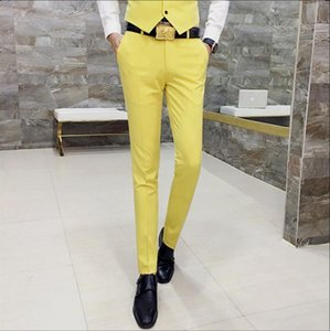 Wholesale Candy Solid Color Skinny Fit Suit Pant Men Trousers Mens Casual Skinny Pants Royal Blue Red Black Orange Yellow Business Pant