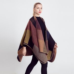 Ladies Shawls Scarfs New Autumn and Winter Color Geometric Scarf for Women Imitation Cashmere Cloak Wild Print Shawl Coat 20 Colors
