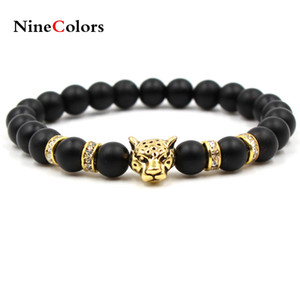 Wholesale Fashion simple black scrub stone ancient silver Panther lion head men and women stretch bracelets SL069