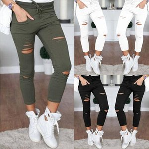 Wholesale Women Denim Skinny Jeans Pants Holes Destroyed Knee Pencil Pants Casual Trousers Black White Stretch Ripped Jeans