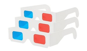 Wholesale Red Cyan Blue Paper Card D D Anaglyph D Glasses White DHL