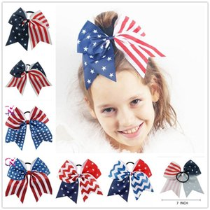 Wholesale 4th of July Cheer Bow Patriotic Glitter Elastic Hair Ties Cheerleader Bow With Ponytail Holder For Girl Cheerleader Y136