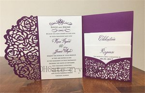 Gorgeous Purple Shimmer Laser Cut Wedding Invitations Pocket Wedding invitation Laser Cut Jacket Purple Shimmer Laser Cut, Many Colors