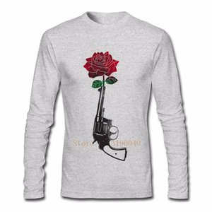 Gun And Roses Flower red roses Men T Shirts Comfort Men's Round Collar Clothes Low Price Long Adult T Shirt