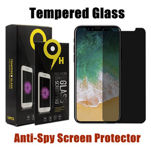 Wholesale Anti Spy Tempered Glass For iPhone X XS MAX XR Plus Privacy Screen Protector For Samsung S7 S6 With Retail Package