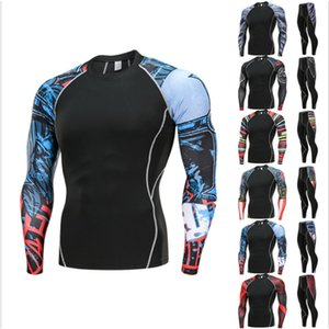 Wholesale mens sports suits Cycling tracksuit leggings crossfit T-shirt compression rash gard kit Gym jogging thermal underwear 4XL