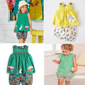 Wholesale kids cartoon shirts resale online - NEW girl Kids Clothes sets Cotton Sleeveless cartoon tortoise rabbit flowers print girl set summer girl elegant casual t shirt short