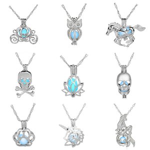 Openable DIY Necklace Girls Hollow Out Pearl Cages Sky Blue Luminous Locket Woman Pendant Clothing Accessories Arts Crafts Gifts 3 5db bb