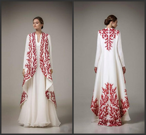 Wholesale 2019 New Elegant White And Red Applique Evening Gowns Ashi Studio Long Sleeve A Line Prom Dresses Formal Wear Women Cape Party Dresses