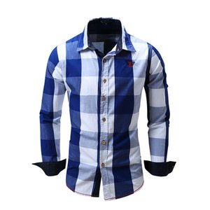 Wholesale New Spring Casual Brand Slim Fit Men Long Sleeve Shirt Pure Cotton Cowboy Plaid Hit Color Clothes Social European Size M XXL