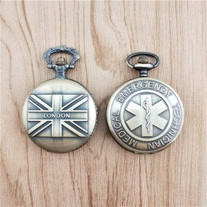 Wholesale 100pcs Vintage Bronze British Flag London Union Jack Quartz Pocket Watch Pendant Women s And Men s Clock Fob Watch