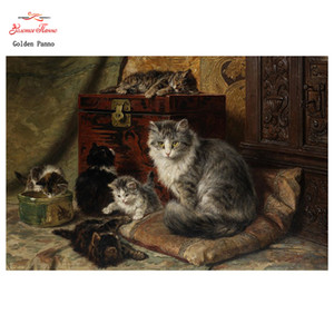Wholesale Golden Panno D Diy diamond painting full square Diamond embroidery A family of cats painting mosaic pictures of rhinestones07