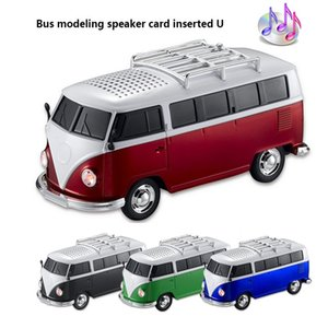 Wholesale car shaped portable mp3 player resale online - High quality colorful mini speaker car shape mini bus speaker support FM U disk Insert Card mini speaker MP3 player