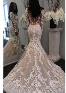 Lace Mermaid Sheer-Tulle Long-Sleeve Gorgeous Retro Illusion Wedding Dress JJ0155