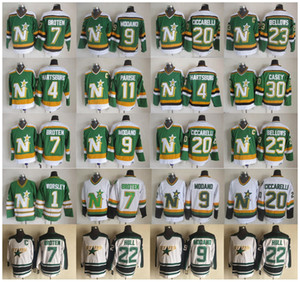 norden sterne großhandel-Minnesota North Stars Mike Modano Dino Ciccarelli Neal Broten Gump Worsley JP Parise Brian Bellows Casey Hartsburg Hull Hockey Trikots
