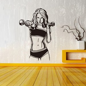 New Designer Dumbbell Fitness Room Bedroom Background Wallpaper Wall Stickers Waterproof Can Be Removable PVC Decal Murals Home Decoration on Sale