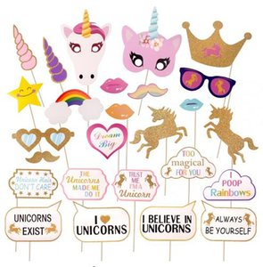 Wholesale Glitter Unicorn Photo Booth Props Kit Decoration Girl Birthday Party Supplies Fun Wedding Hen Night Rainbow Pegasus photography Props