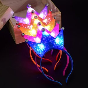 Wholesale 2018 Kids Adults Flashing Blinking Crown Headband Light Up Tiara Hair Accessories Concert Cheering Props Birthday Party Supplies