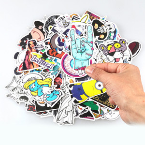 Wholesale laptop stickers resale online - 100Pcs pack DIY Car stickers Waterproof Funny Cute Sticker for Car Trunk Skateboard Guitar Laptop Gridge Toy Decal Car styling