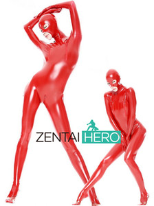 Wholesale DHL Custom Made Adult Sexy Women Full Body Red Shiny PVC Suit Open Eyes And Mouth Fancy Dress Zentai Suit
