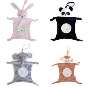 Wholesale Plush Baby Security Blanket toy Baby Shower Gift Stuffed Animal Toys Bunny Elephant Panda Soft Baby Soothing Towel Rattle Toy