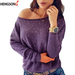 Wholesale 2018 Autumn long sleeve shirt women t shirt tshirt solid color diamonds bling t shirt female casual cotton blend knit tee