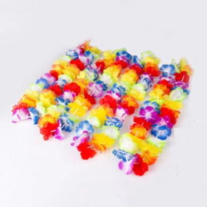 Wholesale hawaiian leis for sale - Group buy Hawaiian Flower leis Garland Necklace Pool Party Fancy Dress Hawaii Beach Fun Flowers DIY Party event Decoration Wreath