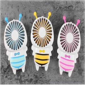 Wholesale USB Fan Mini Bee Handle Charging Electric Fans Thin Handheld Portable Luminous Night Light For Home Office Gifts Colors