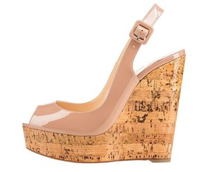 Fashion Style Patent Leather Wood Grain Wedge Heel Shoes Women High Platform Open Toe Slingback Single Buckle Strap Casual Dress Sandals
