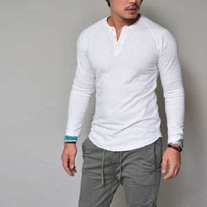 Wholesale Fashion Brand Clothing Men T Shirt Two Button V Neck Slim Fit Long Sleeve T Shirts Men Spandex Casual Tees