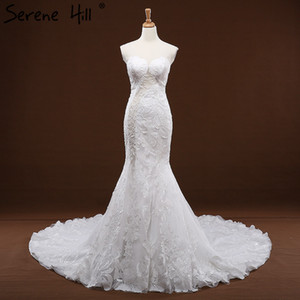 Wholesale White Sleeveless Sequined Mermaid Lace Wedding Dresses Sexy Slim Casamentos Bride Dress Real Picture Serene Hill