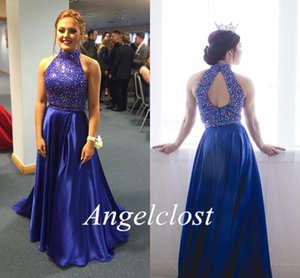 Two Pieces Royal Blue Prom Dresses 2018 High Neck Crystal Beaded A-Line Open Back Sweep Train Sexy Evening Party Gowns Custom Made