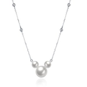 Wholesale New arrival sterling silver Mickey pearl pendant necklaces romantic link chain fine jewelry making for women gifts free delivery SVN055