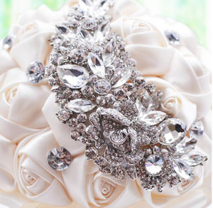 2018 New Crystal Brooch Wedding Bouquet Wedding Accessories Bridesmaid Artifical Satin Flowers Wedding Flowers Bridal Bouquets