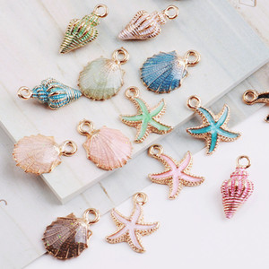 Wholesale MRHUANG Coloful Nautical Ocean starfish Shell Conch Sea Enamel Charms DIY Bracelet Necklace Jewelry Accessory DIY Craft