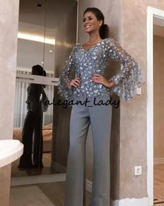 Wholesale mother groom dresses for winter wedding for sale - Group buy Elegant Silver Grey Lace Mother Of The Bride Pant Suits For Wedding Groom Dress D Floral Appliqued Long Sleeves Formal Outfit Garment