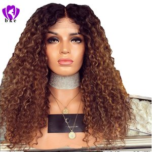 Wholesale 180 Density Inch Glueless Brown Wig Heat Resistant kinky Curly Synthetic Lace Front Wig With Baby Hair Ombre Wigs For Women