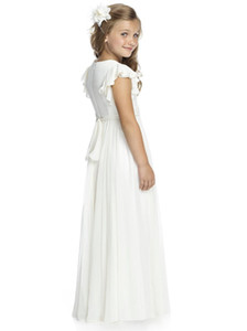 Ivory Chiffon Long Floor Length Flower Girls Dresses For Weddings A Line Short Sleeve Custom Made Cheap First Communion Gowns on Sale