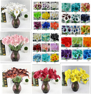 Wholesale calla resale online - DHL Colors PU Calla Lily Artificial Flower Bouquet Real Touch Party Wedding Decorations Fake Flowers Home Decor cm cm