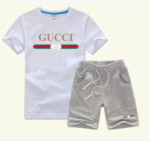 Wholesale Spring Luxury Designer Baby Boy s t shirt Pants Two piec years olde Suit Kids Brand Children s Cotton Clothing Sets