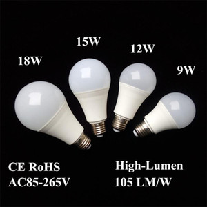 LED Bulbs E26 E27 B22 Lamps Energy-saving Light Global Bulb 9W 12W 15W 18W 110V 220V 240V SMD2835 Smart IC Real Power