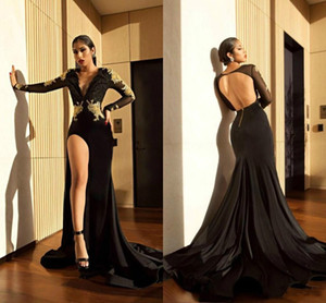 2018 Sexy African Girl Said Split Backless Party Prom Dress Elegant Mermaid Lace Applique Sheer Long Sleeve Evening Dress Free Shipping