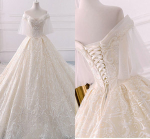 Luxury Lace Ball Gown Wedding Dresses 2020 Boho Off Shoulder Rhinestones Beaded Sequins Court Train Vintage Princess Bridal Gowns Dress