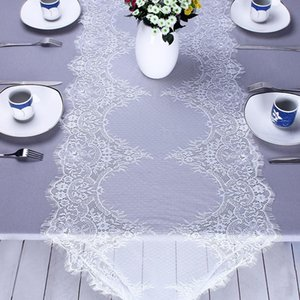 Wholesale AsyPets cm cm Elegant Flower Lace Table Runner White Table Flag with Eyelash Edge for Wedding Decoration Gift Bow Ribbon