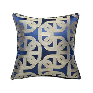 Luxurious Contemporary Royal Blue Geometric Pillow Case Modern Pipping Jacquard Woven Home Floor Sofa Throw Cushion Cover Square 45x45cm